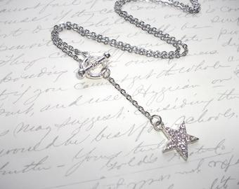 Rhinestone star silver lariat necklace