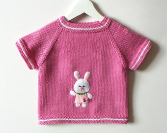 Bunny baby vest pink baby girl vest knitted girl vest for Spring MADE TO ORDER