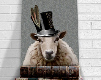 Steampunk Sheep Top Hat  Acrylic Art Original Painting Print Mixed Media Animal Painting Wall Decor Wall hanging Wall Art