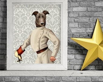 Greyhound art print - Greyhound fencing portrait - fencing print greyhound print greyhound gift for husband Dining room art home decor gift