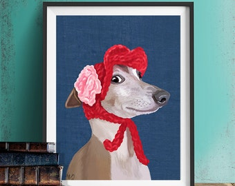 Greyhound art print - Italian greyhound with Red Hat - Greyhound print greyhound decor funny dog wall art gift for dog lover gift girlfriend