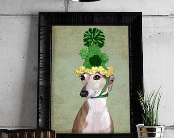 Italian Greyhound Print  With Bobble Hat, poster dog illustration dog picture dog gift dog lover dog print painting portrait