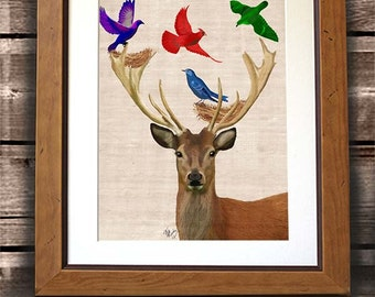 Deer art print - Deer and Birds Nests -  Deer print Woodland deer Deer nursery Deer painting Deer picture Deer wall art Deer poster antlers