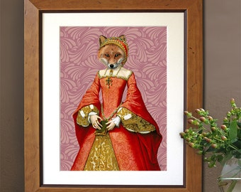 The Fox Queen - Art Print Digital Original Illustration Poster Drawing Digital Print fox print fox wall art red fox print woodland print
