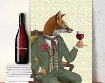 Fox Art Print - Fox Wine Tasting, Portrait  - fox illustration fox wall art red fox print wine art décor wine art print wine lover gift