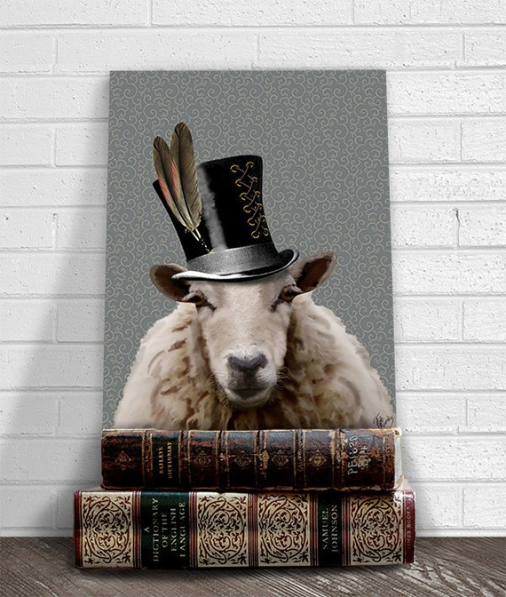 Steampunk Sheep Top Hat Acrylic Art Original Painting Print Mixed Media Animal Painting Wall Decor Wall hanging Wall Art by LoopyLolly steampunk buy now online