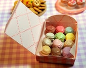 Miniature Box of 12 Pastel Macarons (playscale 1:6 scale diorama play mini for fashion/teen dolls) Dessert Macaroons