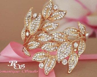 Gold wedding bracelet crystal leaves bracelet rhinestone bridal bracelet statement wedding cuff wedding accessories bridal jewelry  B0149G