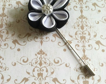Mens Flower Lapel - Black & White Lapel Pin - Wedding Boutonniere - Father's Day Gifts