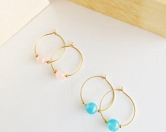 Blue Agata earrings, Rose Quartz earrings, Briedsmaid earrings, Gold filled hoops, Cute earrings, Simple earrings