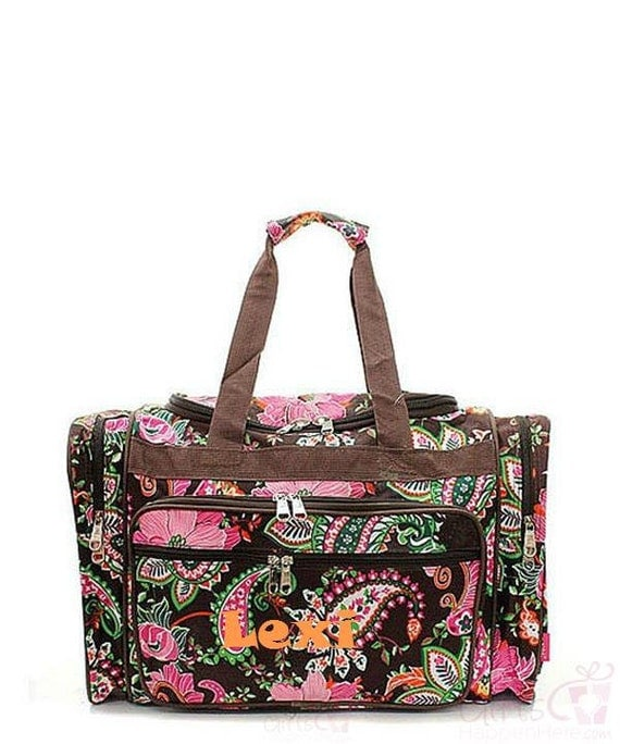 Personalized duffle bag monogrammed brown floral paisley