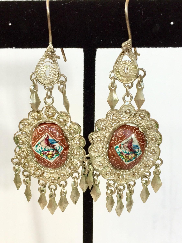 Vintage Persian Silver Enamel Dangle Earrings Boho Filigree