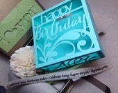 Happy Birthday personalized cut-out box - with gift card holder-