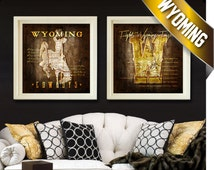 Wyoming Cowboys Map Set - Featuring Fight Songs - Alumni, Birthday, Anniversary Gift for Your University of Wyoming Fan - Unframed Prints