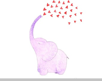 Cute elephant love-print of my original watercolor drawing, perfect for decoration, gift or babyshower-baby girl-