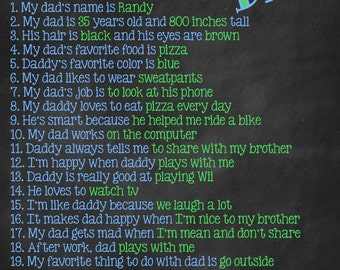 Father's Day Questionnaire Chalkboard Father's Day Fathers Day 8X10