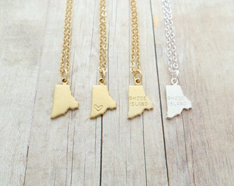 Rhode Island State Charm Personalized Necklace (Gold or Silver)