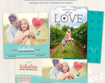 Valentine's Marketing Bundle / Photography Marketing Items - Photoshop Template for photographers (VBMIX2) - Instant Download