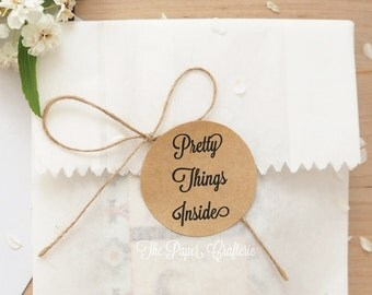 Pretty Things Inside Stickers Kraft Brown Round Package Seals - Pack of 60
