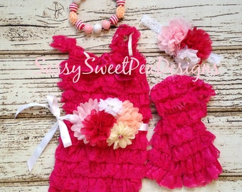 Hot Pink Lace Romper Set with Chunky Necklace..Hot Pink Petti lace Romper with Matching Heaband..Smash Cake Birthday Set  Photo Prop