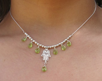 "Sterling Silver ""Hamsa"" Necklace Decorated with Green Peridot Gemstone. Handmade Necklace. Delicate HAMASA necklace. Silver Hamasa pendant."