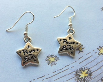 Peace on Earth Star Earrings - Antiqued Silver Plated