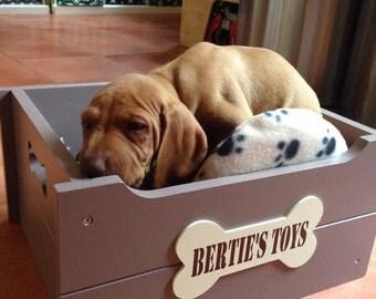 Personalised Dog Toy Box - Mocha & Cream