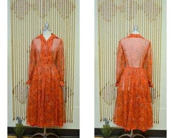 1950s Vintage Sheer Red Floral Print Day Dress
