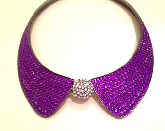 PURPLE RHINESTONE Magnetic COLLAR