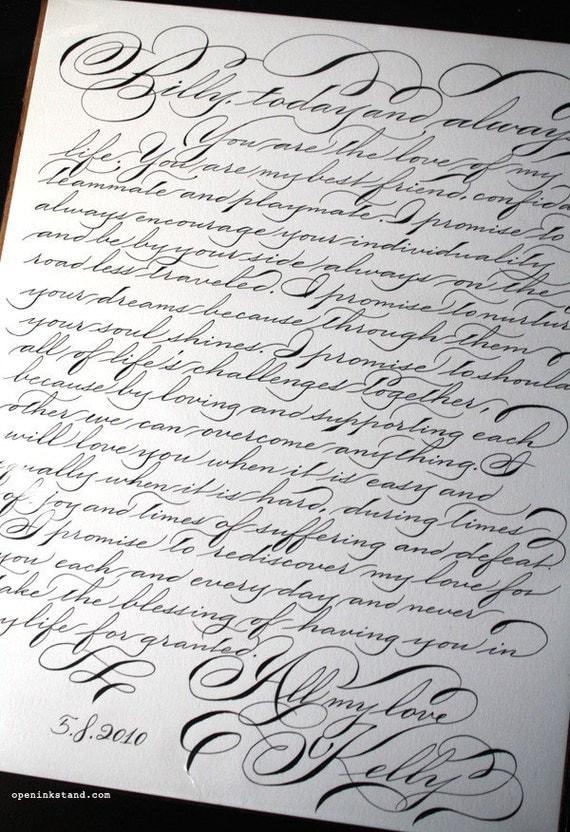 Custom calligraphy vows handwritten first anniversary