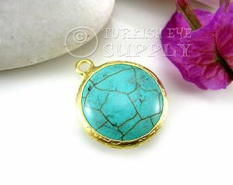 20mm Turquoise Pendant, Round Smooth Gemstone Pendant Matte 22K Gold Plated Turkish Jewelry