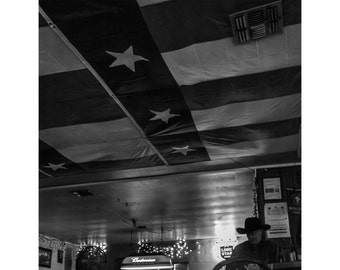 Neon Moon Fine Art Photography Black and White Honky Tonk Country Western Texas Dance Hall Moody Sad Large Wall art Bar Decor drama cowboy