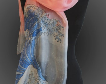 The Great wave off  Kanagawa silk scarf. Hand painted silk scarf.  Japanese art scarf. Hokusai silk scarf.  Art to wear. Made to order.