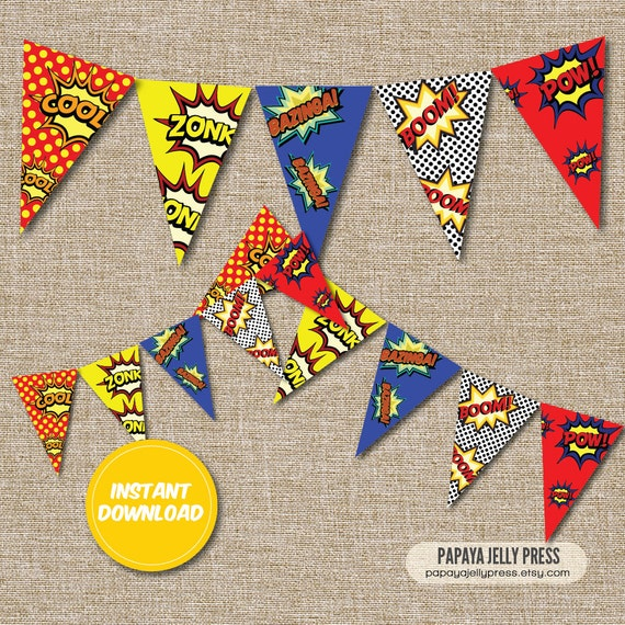 Free Comic Book Day Banner: Super Hero Party Birthday Banner Bunting Comic Book Party