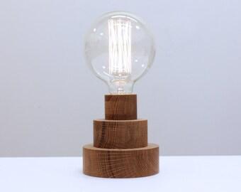 Harlequin Table Lamp- White Oak