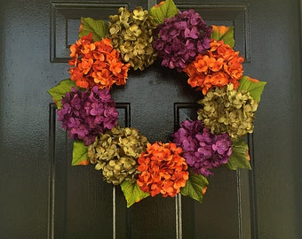Fall hydrangea wreath, all year wreath, front door wreath, door wreaths, spring wreath, summer wreath