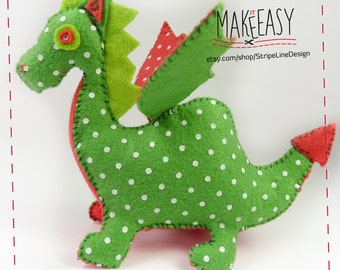 Dragon - Felt pattern and Tutorial - DIY - Making pattern PDF - Plushie Instructions