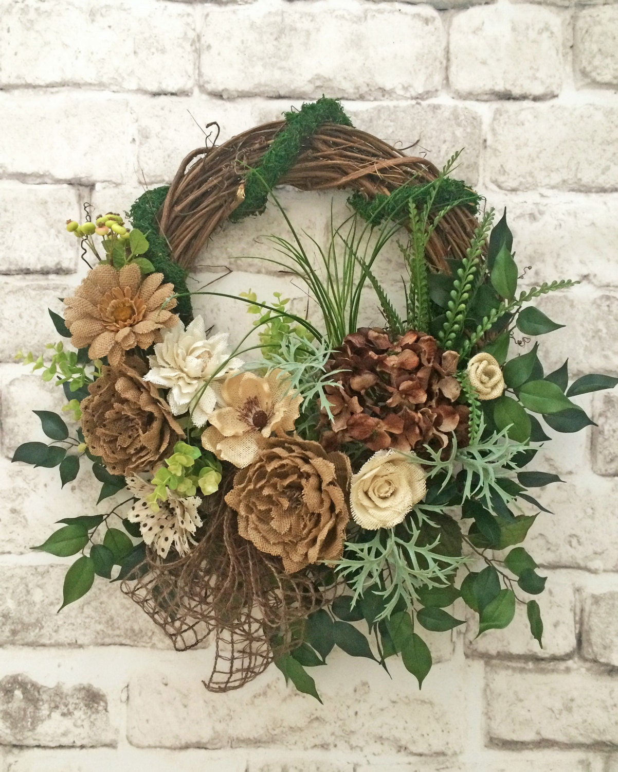 Burlap Front Door Wreaths: Burlap Front Door Wreath Summer Wreath For By