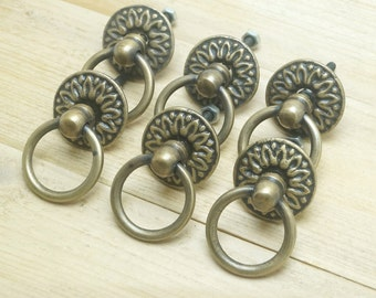 lot of 6 pcs vintage victorian round ring solid brass antique cabinet drawer knob pulls p099