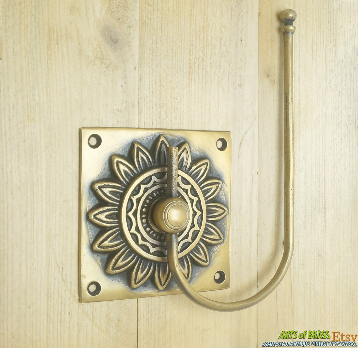 vintage retro sun flower hand towel holder towel hanger solid