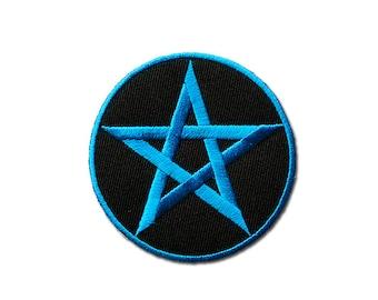 Pentagram Patch  -  Blue Pentagram Embroidered Iron on Patch ( Blue on Black Base )