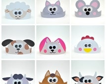 10 Farm Animals Paper Crowns Set. DIY Papaer Hats Template Kit. Farm Animals Characters. Photosession Set. Handmade Home Theater Kit DIGITAL