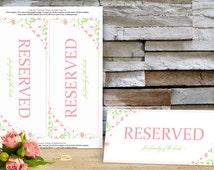 Reserved Sign Template - Download Instantly - EDIT YOUR WORDING -Chic Bouquet (Celedon & Pink) Foldover Tent - Microsoft Word Format
