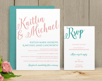 Change the Color Yourself! DiY Wedding Invitation Template - Download Instantly - EDITABLE TEXT - Calligraphy  - Microsoft® Word Format