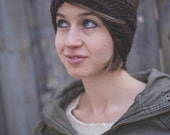 Knit Headband w/ Button - Brown w/ Green Polka Dot Button
