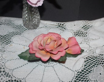 Vintage Fabar Capodimonte Pink Rose with Rose Buds Made in Italy