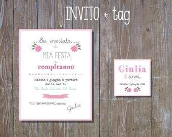 PDF, Birthday invite + tag-baby shower printable invitation- custom birthday invite- wedding card