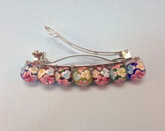 Glass Beads French Barrette| Lampwork Multicolored Beads With Flowers| Hand Wire Wrapped French Barrette| Flower Barrette|