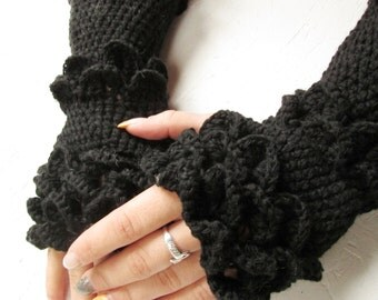 dragon scale  Fingerless Gloves women long gloves  Arm Warmers black  Accessory Winter accessories crocodile stich black winter gloves