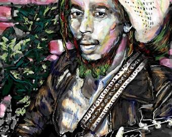 Bob Marley Art, Reggae Painting, Original Painting Art Print